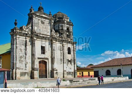 Old And Worn-out Church Facade In Leon, Nicaragua