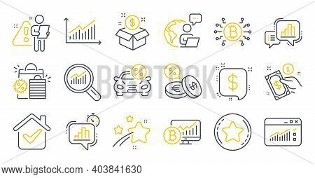 Set Of Finance Icons, Such As Graph, Bitcoin Chart, Payment Method Symbols. Payment Message, Statist