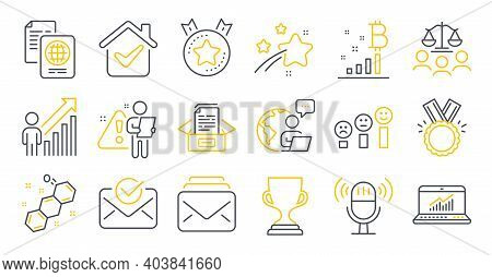 Set Of Education Icons, Such As Ranking Star, Court Jury, Employee Result Symbols. Microphone, Bitco