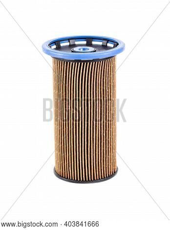 Dirty Spent Fuel Car Filter On White Background, Isolate. Concept Of High Quality Car Fuel, Fuel Cle