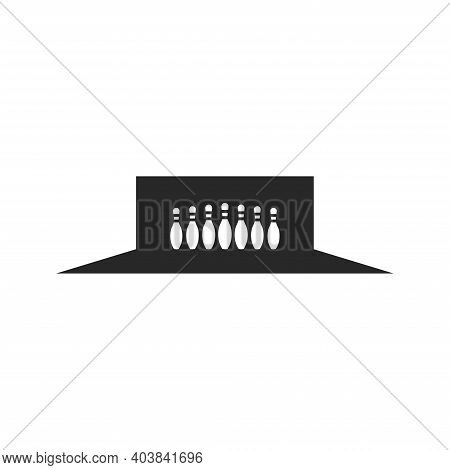 Bowling Lane With Skittles Logo Design Negative Space, Sport Illustration In Minimal Style.
