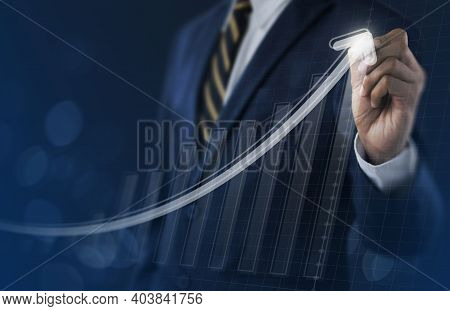 Business Growth, Boost Up Business, Progress In Business Or Success Concept. Businessman Is Drawing