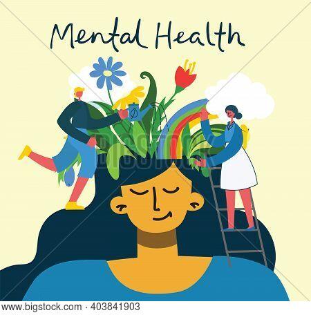 Mental Health Illustration Concept. Psychology Visual Interpretation Of Mental Health In The Flat De