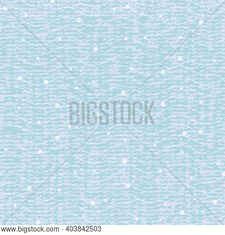 Abstract Textured Wave Pattern With Dot. Seamless Vector Repeat Background. Blue Design With Iregula