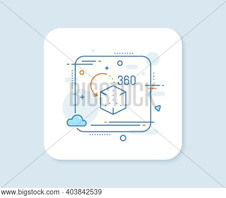 Augmented Reality Line Icon. Abstract Square Vector Button. Vr Simulation Sign. 3d Cube Symbol. Augm