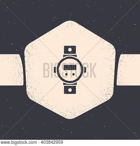 Grunge Diving Watch Icon Isolated On Grey Background. Diving Underwater Equipment. Monochrome Vintag