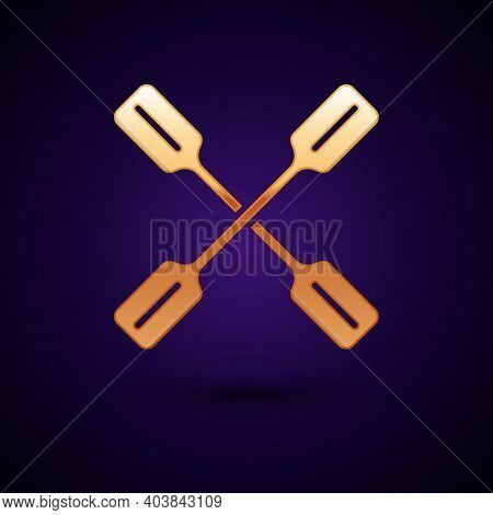 Gold Paddle Icon Isolated On Black Background. Paddle Boat Oars. Vector