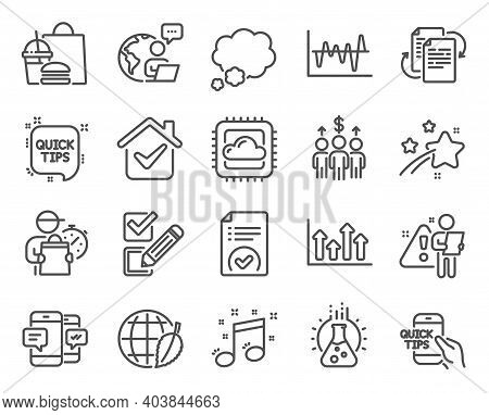 Education Icons Set. Included Icon As Checkbox, Quick Tips, Chemistry Lab Signs. Meeting, Talk Bubbl