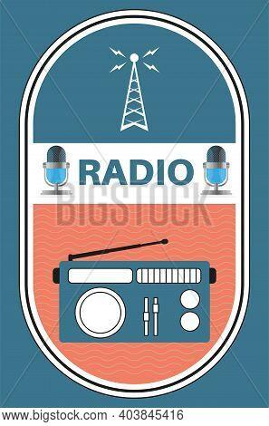 Retro Radio Vector Illustration With Radio Mast Waves On A Blue Background