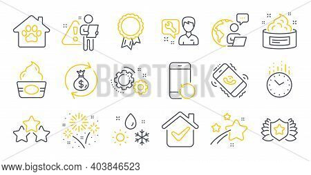 Set Of Business Icons, Such As Time, Repairman, Skin Cream Symbols. Call Center, Fireworks, Ice Crea