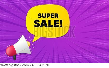 Super Sale. Background With Megaphone. Special Offer Price Sign. Advertising Discounts Symbol. Megap