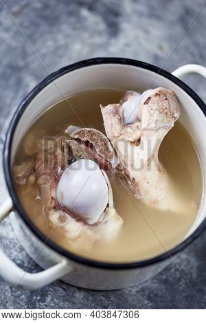 Close Up Of Pot Of Pork Bone Broth