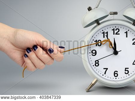 Delay Concept, Time On Clock Stop By Hand