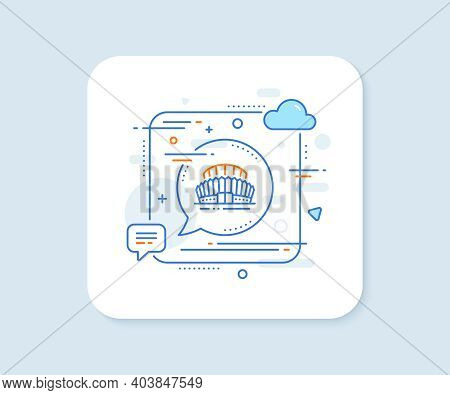Sports Stadium Line Icon. Abstract Square Vector Button. Arena Sign. Sport Complex Symbol. Sports St