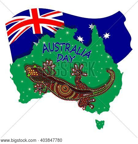 Map Of Australia With Lizard And Flag Isolated On White Background. Australian Continent. Australia