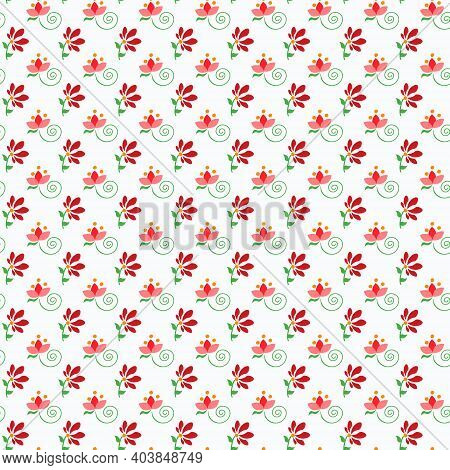 Folklore Pattern With Small Flowers. Fantasy Vector Drawing On A White Background. For Fabric, Scrap