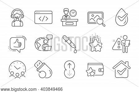 Meeting Time, Dermatologically Tested And Presentation Time Line Icons Set. Support, Search Photo An
