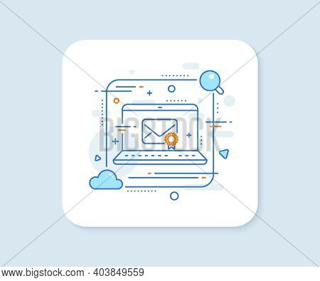 Verified Mail Line Icon. Abstract Vector Button. Confirmed Message Correspondence Sign. E-mail Symbo