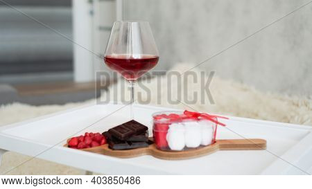 Breakfast For Girlfriend. Valentines Day Morning. Wine And Sweets On A White Tray. Breakfast In Bed.