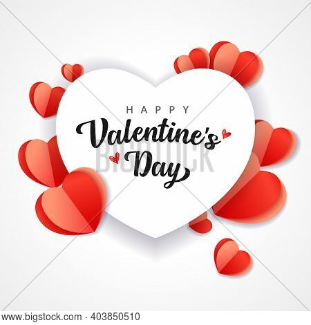 Happy Valentine's Day Abstract Background With Cut Paper Heart. Love Red Origami Shape Isolated On W