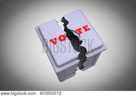 Ballot Box Divided Into Two Parts Demonstrating Divided Vote Concept. 3d Illustration