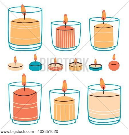 Wax Candles. Aromatic Hand Drawn Decorative Candles In Glass And Water Candles. Burning Candles Vect