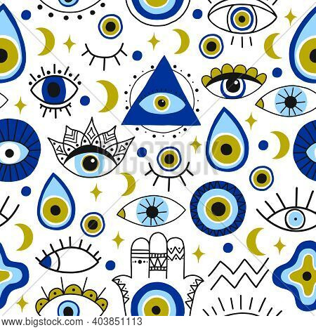 Abstract Eyes Pattern. Evil Hand Drawn Turkish Eyes Trendy Backdrop. Contemporary Magical Eye Talism