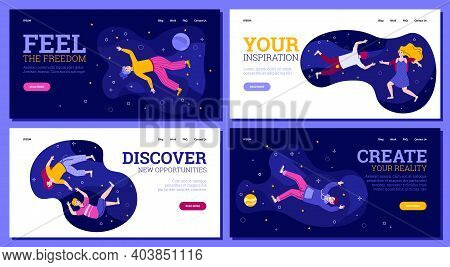 Set Of Creative Website Banners With People Floating In The Sky, Cartoon Vector Illustration. Discov