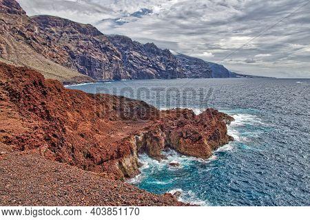 Gigantes Cliff Landscape Hdr Style - Tenerife Island Nature. Atlantic Coast.