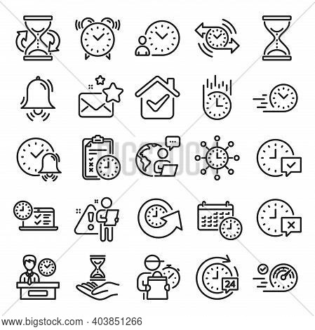 Time Line Icons. Set Of Calendar, Time Management Timer And Delivery Service Linear Icons. Checklist