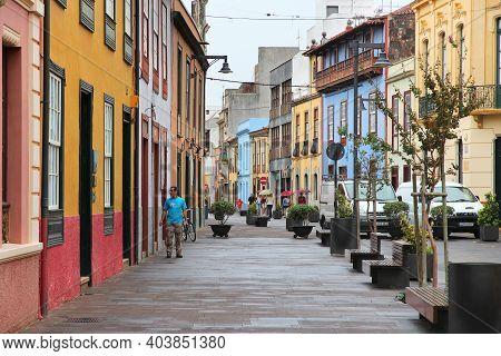 Tenerife, Spain - October 30, 2012: People Visit Town Listed As Unesco World Heritage Site: La Lagun