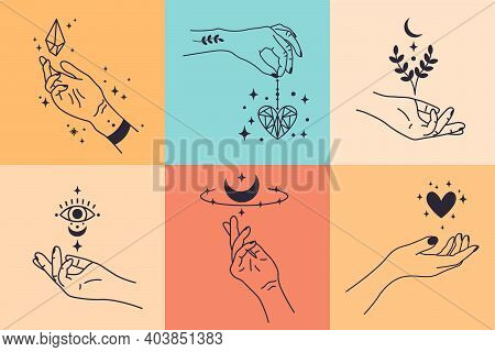 Female Hands. Hand Drawn Minimal Hand Gestures. Feminine Arms With Crystal, Heart And Flower Vector