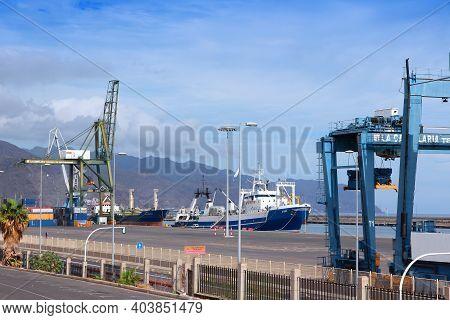 Santa Cruz De Tenerife, Spain - October 27, 2012: Port Of Santa Cruz, Spain. Santa Cruz Is The Large