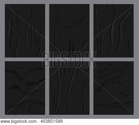 Crumpled Paper Sheets. Realistic Glued Wetness Paper, Black Adhesive Paper Poster With Wrinkles Text