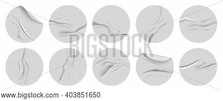 Realistic Crumpled Paper Sticker. Round Adhesive Round Wrinkled 3d Stickers. Glued Round Crumpled La