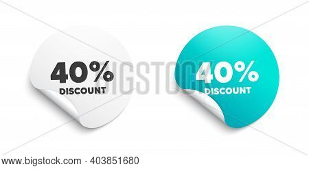 40 Percent Discount. Round Sticker With Offer Message. Sale Offer Price Sign. Special Offer Symbol.