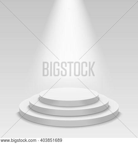 Realistic White Podium. Empty Stage Podium With Spotlight, Round Award Ceremony Pedestal. Winner 3d