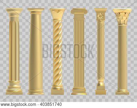 Ancient Columns. Realistic Golden Greek Ancient Column, Classic Historic Columns. Antique Architectu