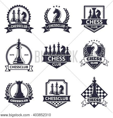 Chess Club Emblem. Chess Game, Chess Tournament Logo, King, Queen, Bishop And Rook Chess Pieces Silh