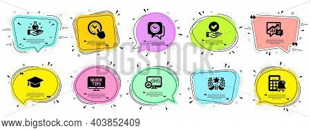 Education Icons Set. Speech Bubble Offer Banners. Vector Coupon Badge. Included Icon As Web Tutorial