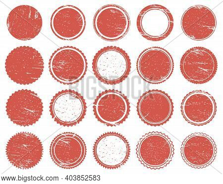 Grunge Texture Stamp. Rubber Red Circle Stamps, Distressed Texture Red Vintage Marks. Sale Round Sta