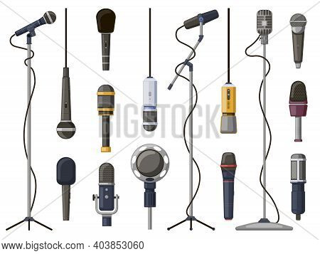 Music Microphones. Studio Sound, Broadcast, Or Music Record Equipment, Music Record Technology. Micr