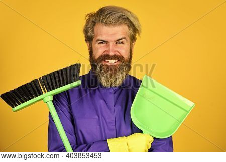 Where Have You Been. Husband Cleaning House. Housework And Domestic Duty. Male Janitor With Cleaning