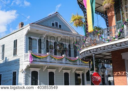 New Orleans, La - January 14: Houses Decorated For Mardi Gras At The Corner Of Royal And Dumaine Str