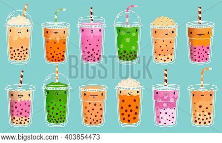 Bubble Tea Mascots. Cute Bubble Milk Tea, Matcha Milk And Green Tea With Tapioca Pearls. Boba Tea Cu