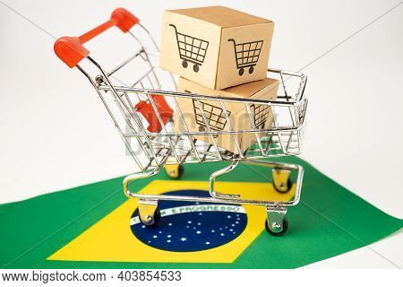 Box With Shopping Cart Logo And Brazil Flag, Import Export Shopping Online Or Ecommerce Finance Deli