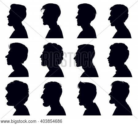Male Profile Face Silhouette. Adult Men Anonymous Characters Shadow Portraits. Men Heads Black Outli