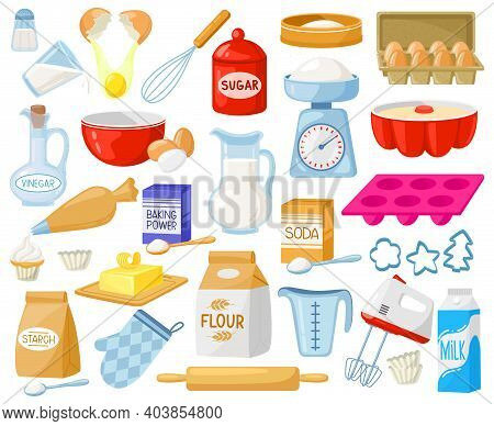 Cartoon Baking Ingredients. Bakery Ingredients, Baking Flour, Eggs, Butter And Milk Vector Illustrat