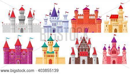 Cartoon Medieval Castles. Fairytale Medieval Towers, Historical Royal Kingdom Castles. Ancient Fortr