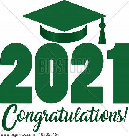 Green Class Of 2021 Congratulations Banner With Graduation Cap